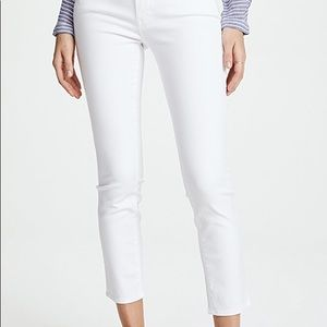 Mother The Looker White crop skinny jeans